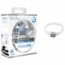 Set becuri H4 Philips White Vision + 2 becuri pozitie W5W + ceas electronic Philips