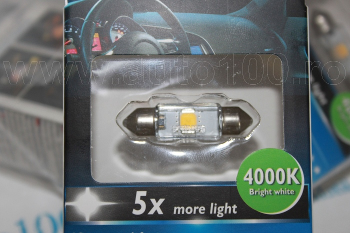 Plafoniera A Led 4000k : Bec plafoniera c5w led 4000k 1w set 1 buc model nou auto100.ro